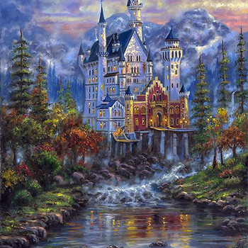 Autumn Mist Castle Cross Stitch Pattern***LOOK*** ***INSTANT DOWNLOAD***