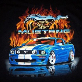 Blue GT Mustang Flame Cross Stitch Pattern***L@@K***