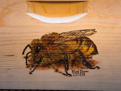 Burning MannLake Beehive with Pyrography How to Burn a Honey Bee Image
