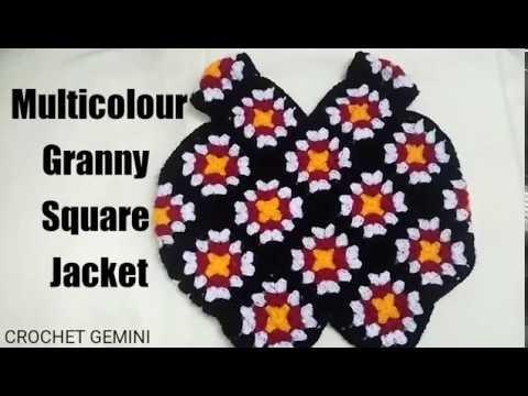 Crochet Granny Square Jacket| MultiColor |Hindi| Sweater| स्वेटर | how to Join Granny Square| Vinkam