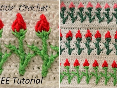 Crochet rose stitch  Tutorial with pattern (English version)
