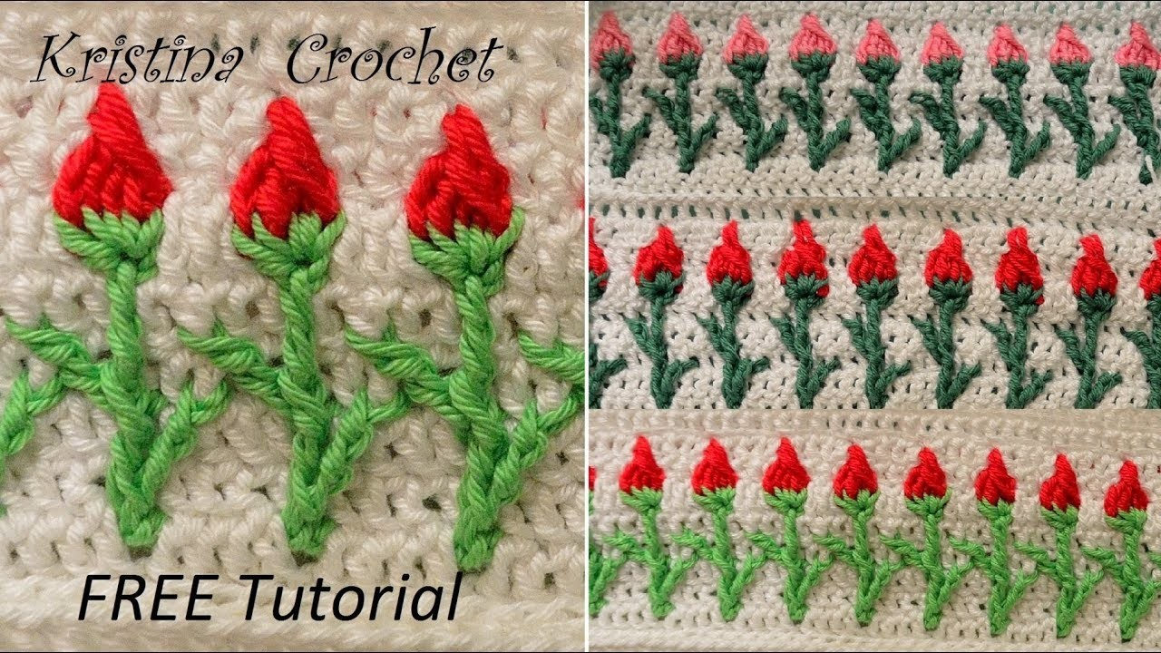 Crochet rose stitch  Tutorial with pattern (English version)