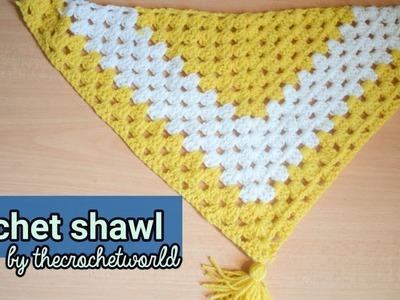 Crochet triangular granny shawl |Granny châle crochet triangulaire|Thecrochetworld