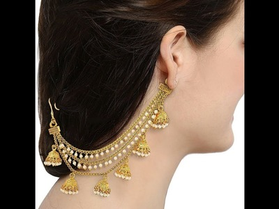 Dev sena style earing chain. Bahubali Earing Chain. How to make bahubali earing chain at home
