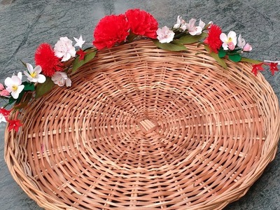 Diy how to decorate basket tray with paper flowers