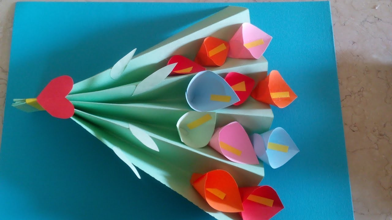 DIY Paper Crafts for Kids - How to Make Paper Flower Bouquet
