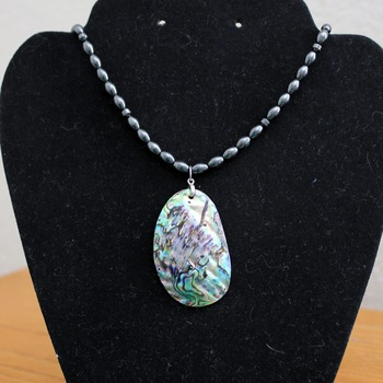 Hematite Necklace with Abalone Shell Pendant