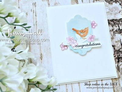 How to create die cuts from a watercolor wash using Stampin Up products with Jenny Hall