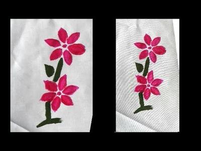 How to do Stencil Fabric Painting for Saree. Dupatta. Stole | UMA