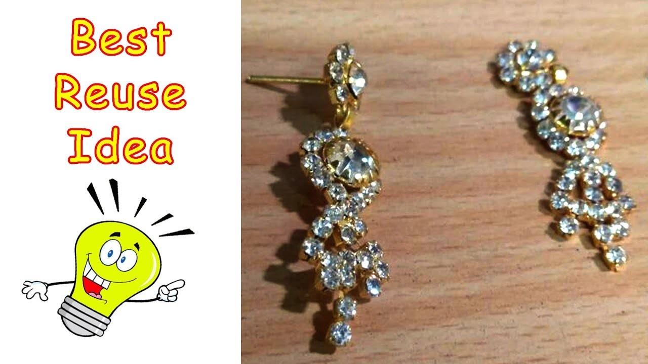 How to make 2 Simple Earrings from Broken Earrings   Best out of Waste   All type Videyos