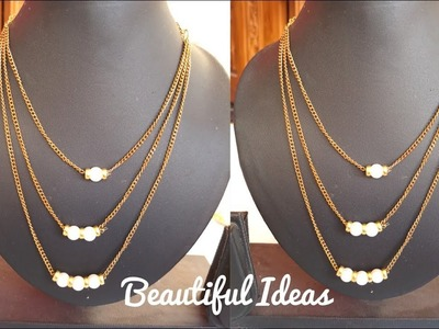 How to Make 3 Layers Gold Chain Necklace with Designer Pearls.Latest Fashion Jewelry.Beautiful Ideas