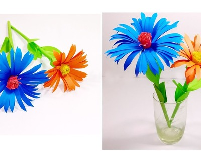 How to make a paper flowers   Origami flower with color paper   Jarine's Crafty Creation