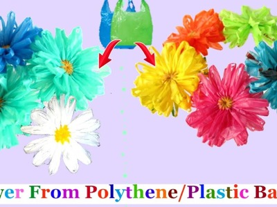 How to make flower with plastic.polythene bag step by step at home-Best out of waste flower making