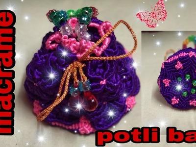 How to make macrame potli bag(पोटली बैग) unique design.