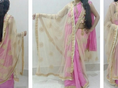 How to make partywear double pallu saree cutting and stitching tutorial in hindi