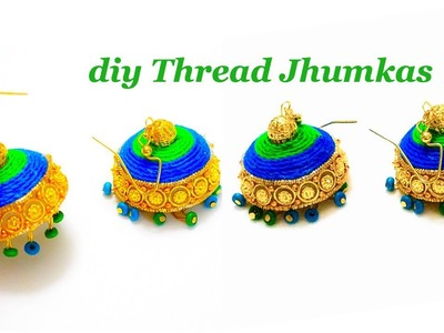 How To Make Thread Jhumkas ||Making Fancy Thread Jhumka Earrings