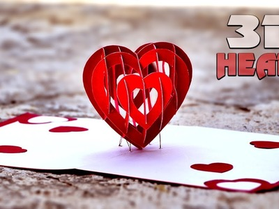 How To Make Valentine's Day DIY 3D Heart Pop Up Card - #DIY Arts & Crafts