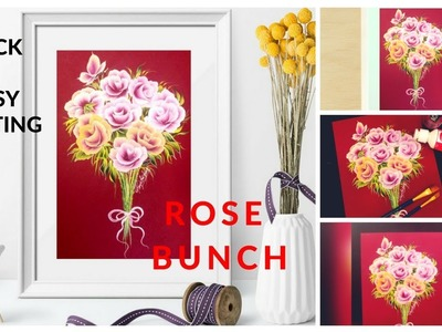 How to paint Rose Bunch ???????? | quick and simple painting | One stroke painting | Diy