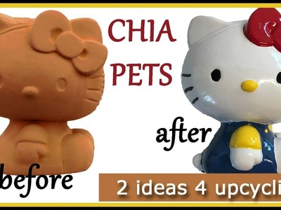 How to upcycle recycle your Chia Pets - 2 ideas