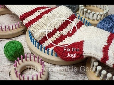 Jogless stripes, Fix the Jog when knitting in the round, loom knitting.