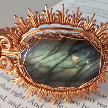 labradorite bangle wrapped with square copper wire.