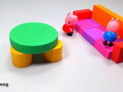 Learn color kinetic sand DIY table and chair how to make for kids toy