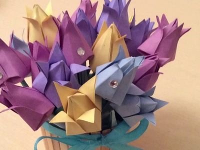 ????Paper flowers DIY ????How to make paper tulips. Origami flowers.????