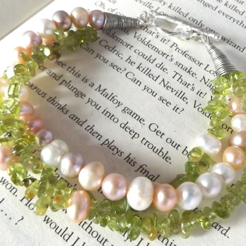 pearl and peridot bracelet