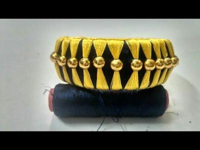 Silk Thread designer bangle-4 | How to make Silk Thread bangle at home| Silk Thread Bangles| DIY