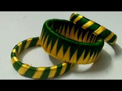 Silk Thread designer bangle-5 | How to make Silk Thread bangle at home| Zig Zag Bangles| diy