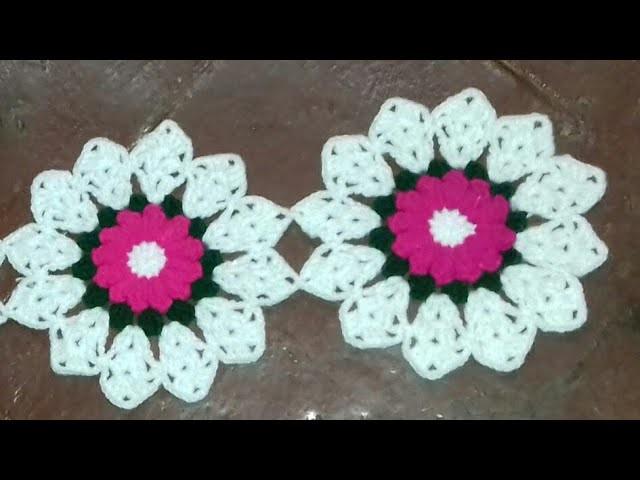 लोकरीचे फुल कसे विणावे  भाग १     How to crochet flower design pattern 1  part 1