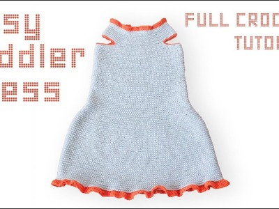 TODDLER DRESS CROCHET TUTORIAL, size 2-3 years.