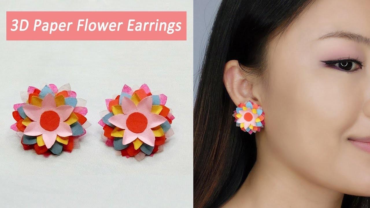 DIY 3D Paper Flower Earrings. How to Make Colourful Paper Flower Earrings. Paper Art Flowers