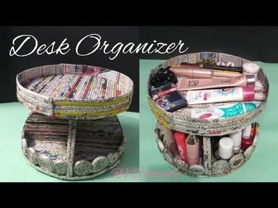 DIY desk organizer | how to make a desk organizer using newspaper and cardboard