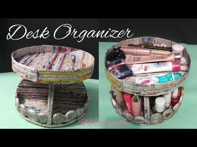 DIY desk organizer   how to make a desk organizer using newspaper and cardboard