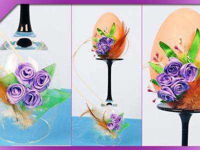 DIY How to make Easter egg on wine glass, Easter decoration (ENG Subtitles) - Speed up #463