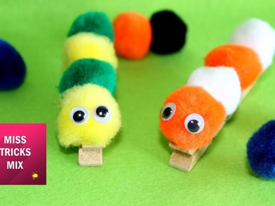 DIY : how to make Pom Pom caterpillar. Easy Crafts For Kids