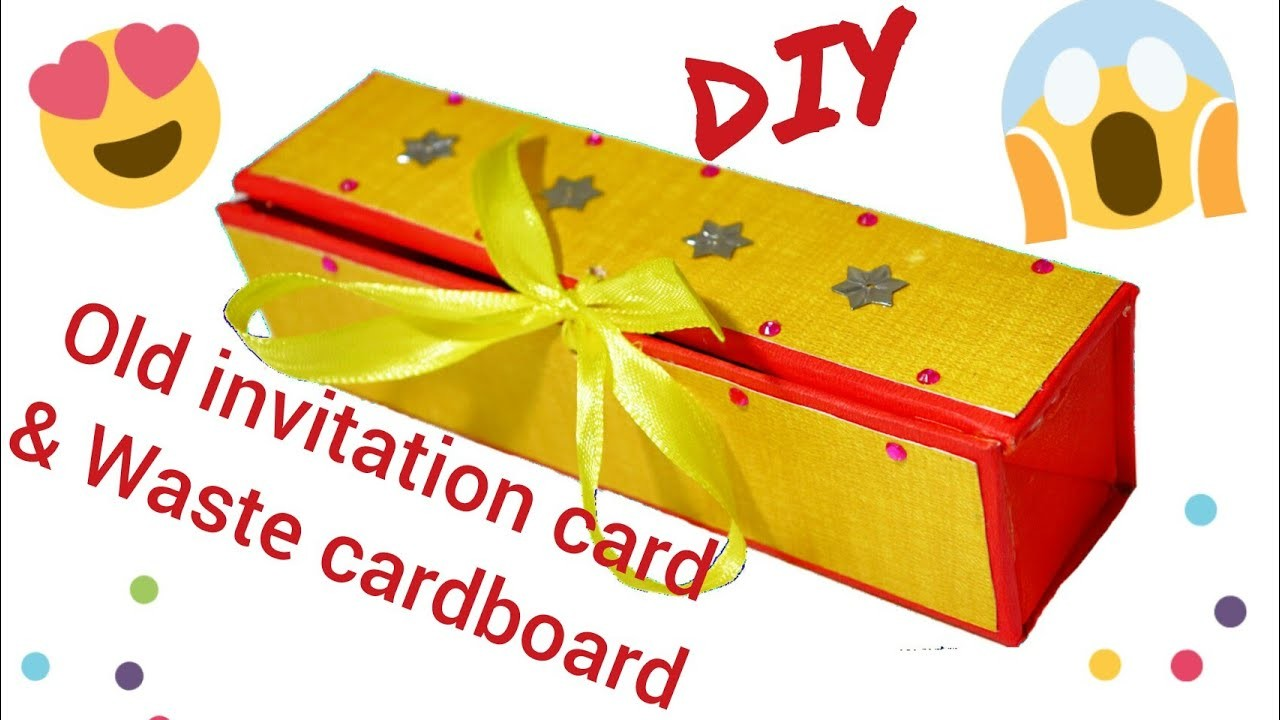 Diy pencil box reuse old invitation card cardboard how to diy pencil box reuse old invitation card cardboard how to make pencil case at home stopboris Image collections