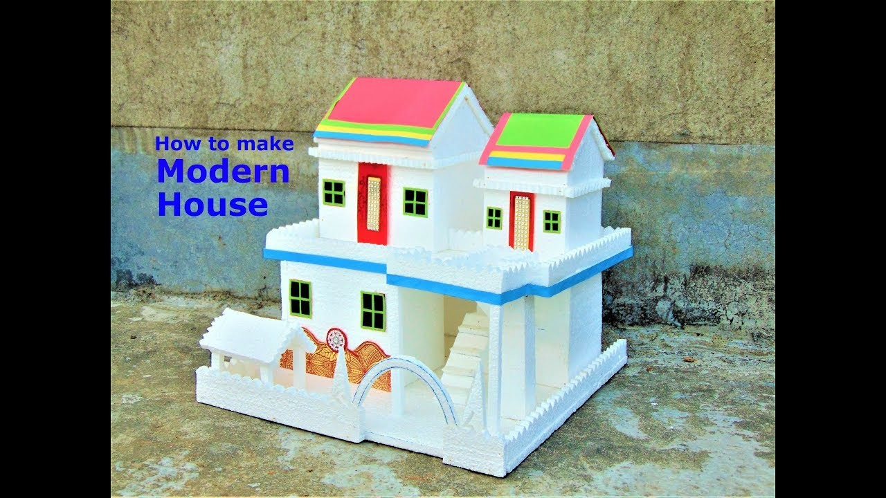 Diy thermocol house model how to make small thermocol house school project for kids