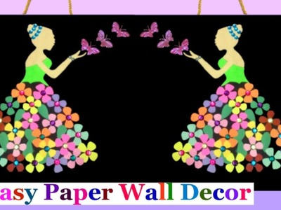 DIY Wall Decoration idea - How to make easy paper wall hanging for living Room |DIY room decor idea