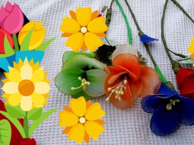 FLOWERS MAKE BY WASTE CLOTH AT HOME.How to make nylon stocking flowers.DEY - NYLON FLOWERS
