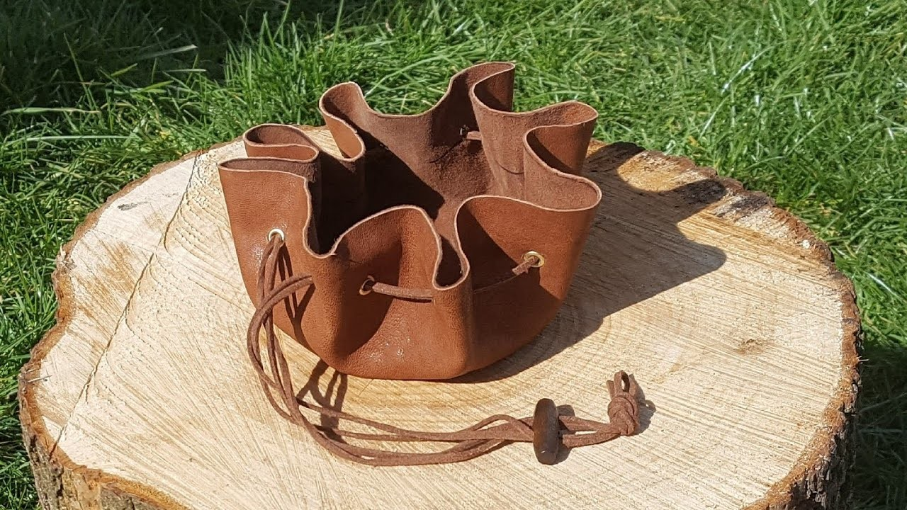 How to DIY making a leather drawstring pouch