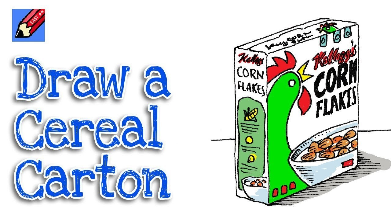 How to Draw a Cereal Packet Real Easy for Kids and Beginners