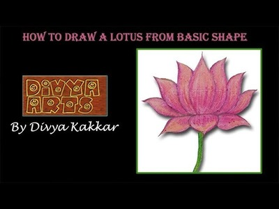 How To Draw A Lotus Flower From Semi Circle Step By Step For Beginners