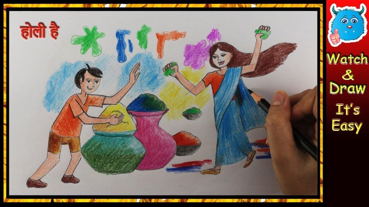 How To Draw Holi Festival Scene Easy For Kids