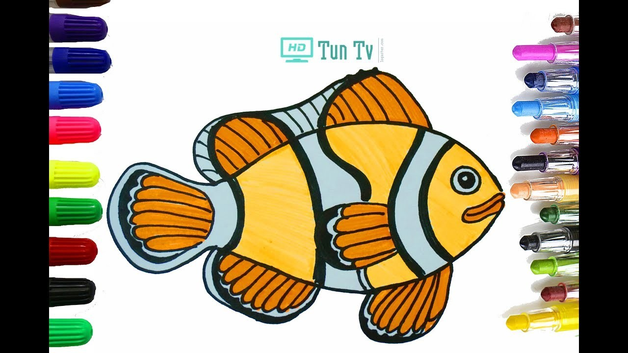 How to Draw Nemo step by step Cute - Clown Fish Finding Dor