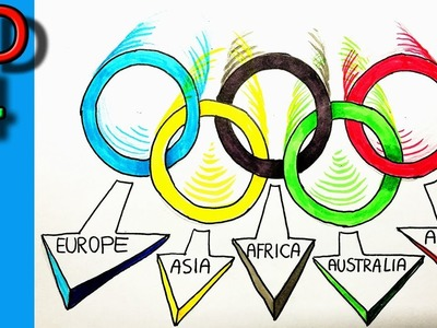 How to Draw the Olympic Rings in 3D!! Step by step for kids