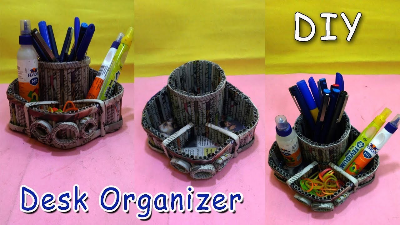 How to make a Desk Organizer Using Newspaper | All type Videyos