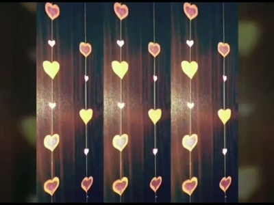 HOW TO MAKE A PAPER HEARTS GARLAND FOR PARTY DECORATION   DIY PAPER HEART CRAFTS