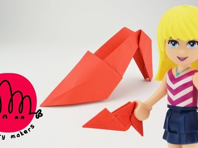 How to make a Paper High Heel Shoe Origami for Kids with LEGO Friends